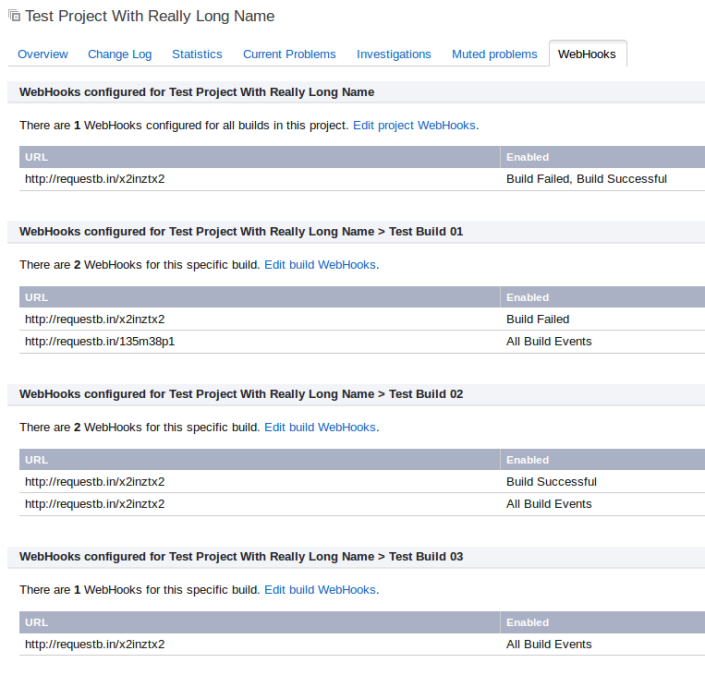 Screenshot of Project tab.